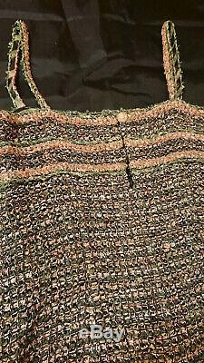 100%Authentic Chanel Green Pink Tweed Dress! Sz 36 Gorgeous