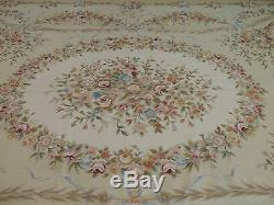 10x14 French Aubusson Style Area Rug Oriental wool hand-knotted Green PInk