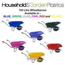110 Litre Garden/equestrian Plastic Wheelbarrow Blue/green/lilac/pink/red/yellow