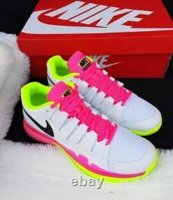 11 WOMEN'S Nike Zoom Vapor 9.5 Tour White pink Green 631475 107 tennis shoes