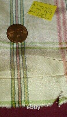 11 yards Silk PLAID tartan fabric pastel CREAM PINK GREEN 54 wide female SPRING
