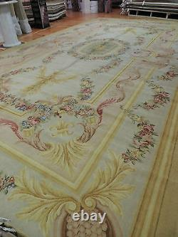 12x22 RARE Oversize/Palace FRENCH Savonnerie Oriental Rug Yellow Pink Green Gold