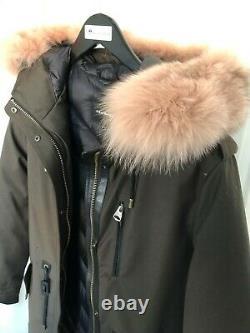 $1300 New Mackage Chara Down Pink Silver Fox Fur Parka Military Green Jacket XS