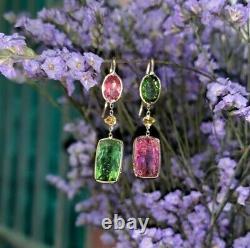 14K Gold Vivid Pink Green Tourmaline Juxtaposed Canary Yellow Diamond Earrings