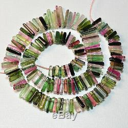 180.7CT Pink Green Blue Smooth Old Stock Tourmaline Crystal Bead 16 inch strand