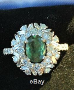 18k Gold 3.68 Ct Gia Certified Green To Pink Alexandrite Diamond Snowflake Ring