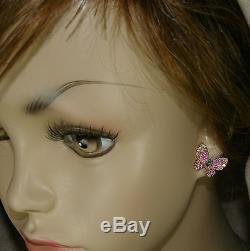 18k ROSE GOLD DIAMOND GREEN EMERALD RUBY PINK SAPPHIRE POST BUTTERFLY EARRINGS