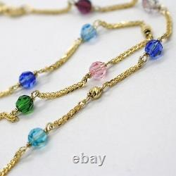 18k Yellow Gold Necklace Ear Alternate With Faceted Blue Pink Purple Green Balls