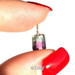 1CT Pink Green Watermelon Tourmaline Bezeled in Solid 14K Yellow Gold
