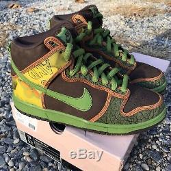 2005 DS Nike Dunk High Pro SB De La Soul Brown Altitude Green Size 7.5 Pink Box