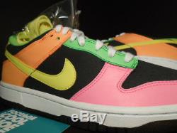 2010 Nike Dunk Low HIGHLIGHTER GREY YELLOW PINK GREEN ORANGE 310569-071 DS 7Y 7