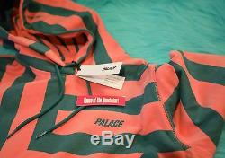 2017 S/S Palace Anglo Hoodie Pink Green Size Large Authentic