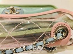 2018 CHANEL PVC Clear Pink Green chain strap SOLD OUT
