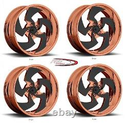 20 Pro Billet Wheels Rims Rose Gold Forged Polished Directional Twisted Blade