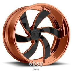 26 Pro Wheels Rims Rose Gold Sicario 6 Twisted Mags Forged Billet Line Aluminum