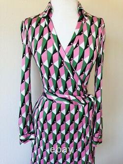2 4 Diane Von Furstenberg New Jeanne Polo Check Pink Green Silk Wrap Dress