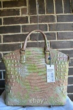 $315 NWT BRAHMIN LARGE DUXBURY ATLAS MELBOURNE SATCHEL green pink tan