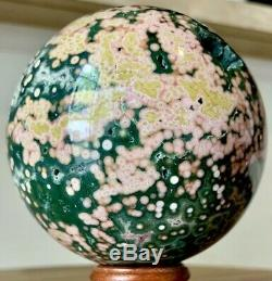 3.29 COLLECTORS Piece Ocean Jasper Sphere 1.11 LB Stunning Greens And Pinks