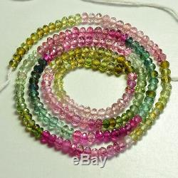 3.2mm Rubellite Pink Green Tourmaline Faceted Rondelle Beads 16.5 inch strand