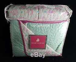 3-pc LET'S BE MERMAIDS Full/Queen Quilt Set Seahorse Starfish Pink Green
