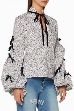 $495 NEW Caroline Constas STELLA BLOUSE Floral Print White Pink Green Tops L