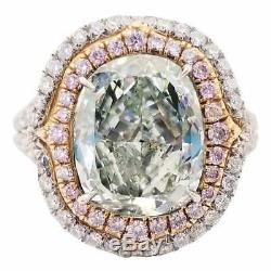 4.62CT Fancy Yellowish Green Cushion Cut Topaz With Pink & White CZ Wedding Ring