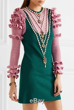 $4.8K GUCCI Pearls Embellished Green & Pink Wool-Blend Mini Dress XL NEW + TAGS