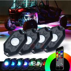 4 Pod Neon LED Rock Light Kit Bluetooth RGB Underglow for Offroad Car Truck Boat