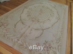 4x6 French Aubusson Rug wool Beige Green pink Gray Floral