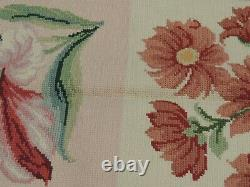 6x9 French Aubusson Needlepoint area rug Floral flat weave Green Pink Yellow
