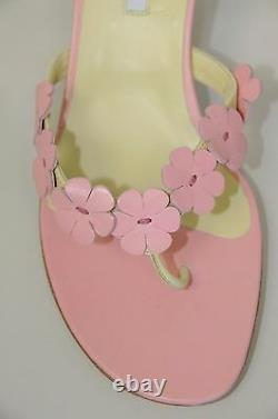 $845 New Manolo Blahnik Thong FLOWERS Pink Green Kitten Heels Sandals Shoes 37