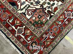 8x10 HAND KNOTTED BLUE WOOL RUG NEW OUSHAK HERIZ SERAPI green navy pink green