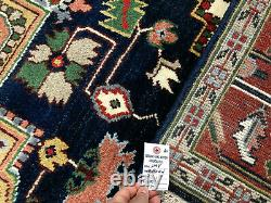 8x10 HAND-KNOTTED BLUE WOOL RUG NEW green dark navy pink green handwoven tribal
