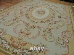 9x12 French Aubusson Area Rug Floral Beige Gold Pink Green Medallion wool