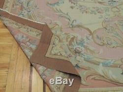 9x12 French Aubusson Area Rug Floral Beige Pink Blue Yellow Green Gray Medallion