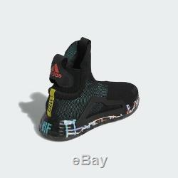 Adidas Basketball N3XT L3V3L Black Print Green Pink Men Hoops Sneaker New BB7803