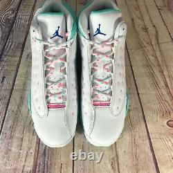 Air Jordan 13 Retro GS White Soar Aurora Green Pink 439358-100 Size 7Y