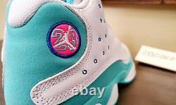 Air Jordan 13 Retro GS White Soar (Size 6) Aurora Green Pink 439358-100