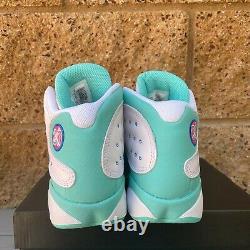 Air Jordan 13 Retro White Soar Green Pink (GS) Basketball Sneakers 439358-100