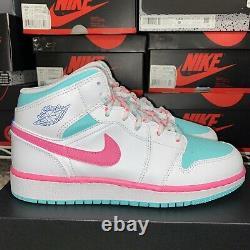Air Jordan 1 Mid Digital Pink Green Solar White 555112-102 Size 6Y/ Womens 7.5