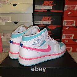 Air Jordan 1 Mid Digital Pink Green Solar White 555112-102 Size 7Y/ Womens 8.5