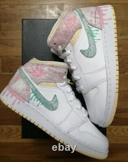 Air Jordan 1 Mid Paint Drip(GS) Pink/White/Green Size 7Y/8.5W