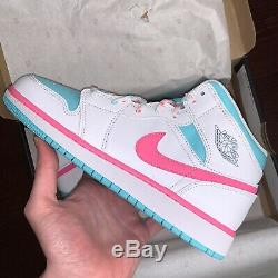 Air Jordan 1 Mid White/Digital Pink/Aurora Green 555112-102 NEW Youth Sizing