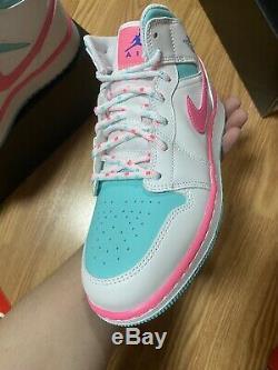 Air Jordan 1 Mid White/Digital Pink/Aurora Green 555112-102 Size 6.5Y NEW