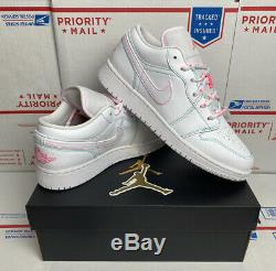 Air Jordan 1 Retro Low GS Size 6Y (Womens 7.5) White Green Teal Pink 554723 101