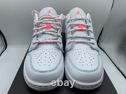 Air Jordan 1 Retro Low GS Size 7Y I W8.5 White Green Teal Pink 554723 101