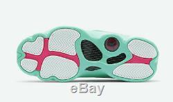 Air Jordan Retro 13 White Soar Green Pink 439358-100 Women's GS Sz 4.5Y
