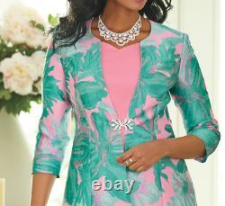 Ashro Pink Green Formal Mother of the Bride Church Iris Jacket Dress Size 14 16