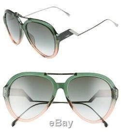 Authentic FENDI FF0322/G/S IWB/9K Green Pea Pink/Green Gradient Lens Sunglasses