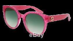 Authentic GUCCI GG0035S 005 Pink /Fuchsia Glitter Sunglasses with Green Gradient